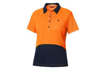 Hard Yakka Women's Koolgear Hi-Vis Short Sleeve Polo (Orange/Dark Navy, Size S)