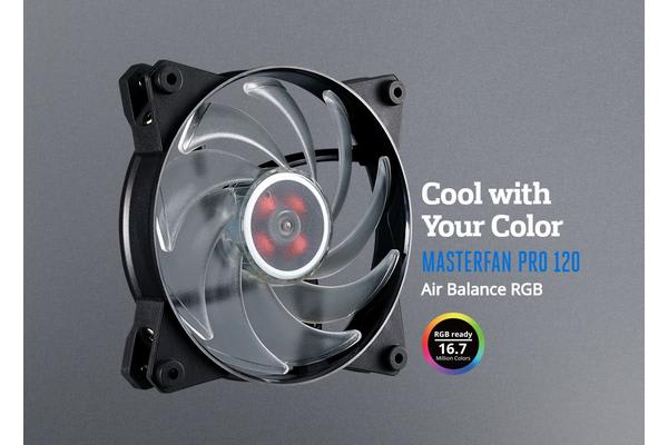 Coolermaster MasterFan Pro RGB Air Balance 120mm Fan, Certified compatible with ASUS, Gigabyte MSI and AsRock RGB motherboard