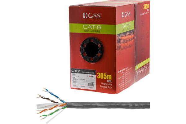 Doss 305M Cat6 Solid Cable Grey