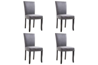 vidaXL Dining Chairs 4 pcs Grey Faux Suede Leather