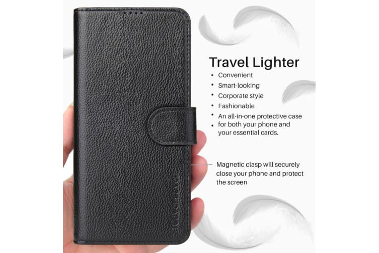 For Samsung Galaxy S10 Wallet Case iCoverLover Real Cow Leather Cover Black