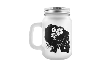 Grindstore Mrs Bones Frosted Mason Jar Drinking Glass (Frosted) (One Size)