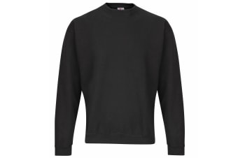 RTXtra Mens Classic Plain Crew Neck Sweatshirt Top (Black)