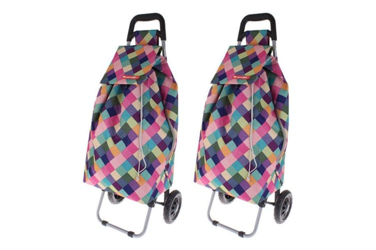 2PK Shop Go 12kg Sprint Shopping Trolley Grocery Food Bag Cart 2 Wheels HLQN
