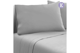 Giselle Bedding 1000TC Microfibre Bed Sheet Set Fitted Flat Pillowcase King GR