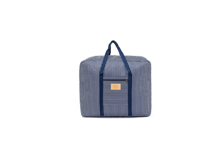 Waterproof Foldable Traveling Bag With Large Capacity Finishing Bag - Navy Stripes Blue M