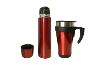 Stainless Steel Vacuum Flask 450ml Mug/500ml Bottle w/ Double Wall Cup Set