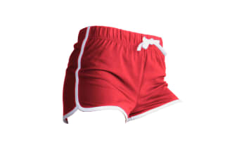 Skinni Fit Womens/Ladies Retro Training / Fitness Sports Shorts (Red/ White)
