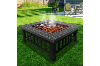 Outdoor Fire Pit BBQ Table Grill Garden Wood Burning Fireplace Stove