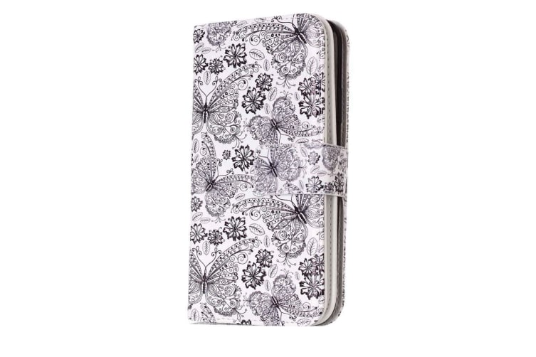 For iPhone XS X Wallet Case Elegant Butterflies Pattern Protective Leather Cover
