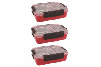 3PK Oasis 23cm Stainless Steel 2 Compartments Food Lunch Box Storage Watermelon