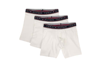 Tommy Hilfiger Men's Cotton Stretch Boxers - 3 Pack (White, Size L)