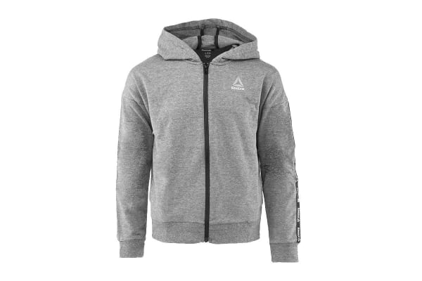 Reebok Girls' Active Full Zip Hoodie (Heather Grey, Size M)
