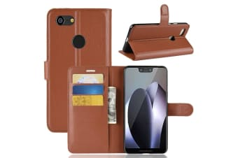 For Google Pixel 3 XL Leather Wallet Case Brown Lychee Cover Stand Card Slots