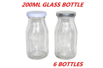 6 x Mini Small Glass Milk Juice Candy Bottle 200ML With Screw Top Silver White Lid
