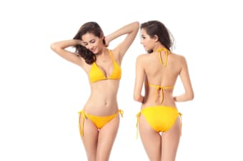 Beach Swimsuit Bikini Hoilday Summer Candy Color Swimwear For Women Yellow Xl