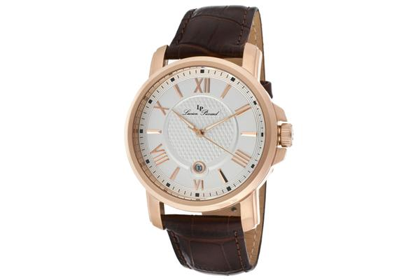 Lucien Piccard Men's Cilindro Light Silver Dial Brown Genuine Leather (LP-12358-RG-02S)