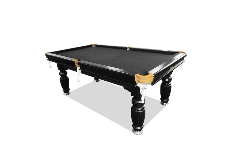 8FT Luxury Slate Pool Table Solid Timber Billiard Table Professional Snooker Game Table with Accessories Pack,Black Frame / Black Felt