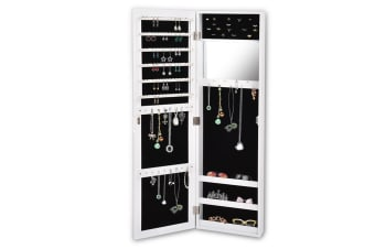 Mirror Jewellery Cabinet Makeup Storage Jewelry Organiser Box Tall Wall Mounted