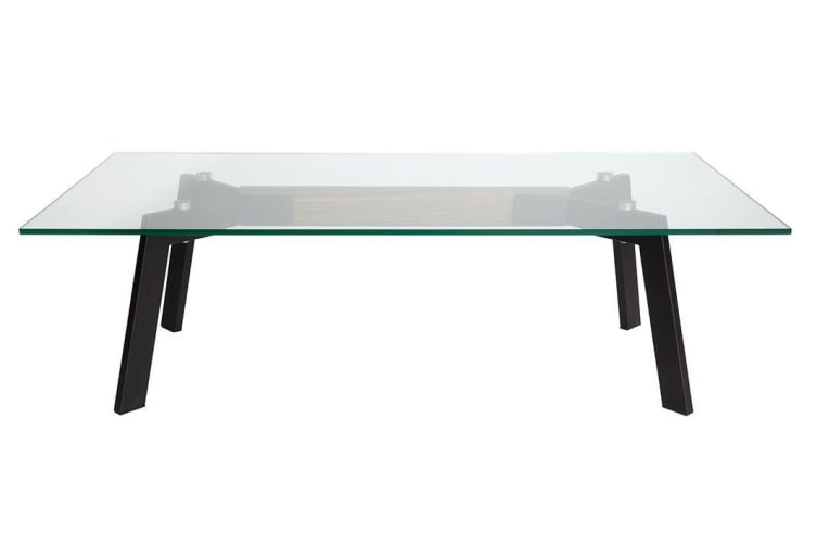 Vox Collection | Glass Coffee Table | Matte Black & Walnut