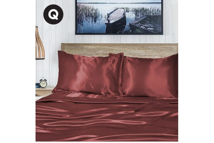Queen Size Burgundy 1000TC Silk Silky Feel Satin Sheet Set