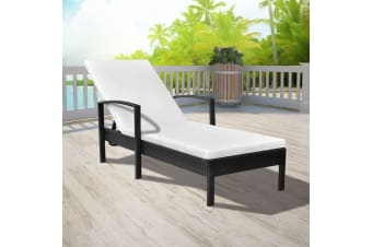 vidaXL Sun Lounger with Cushion Poly Rattan Black