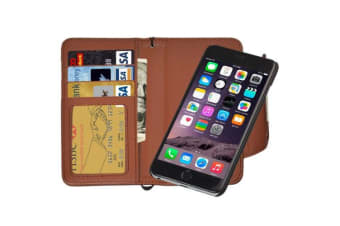 For iPhone 6S PLUS 6 PLUS Wallet Case Separable Horse Leather Cover Brown