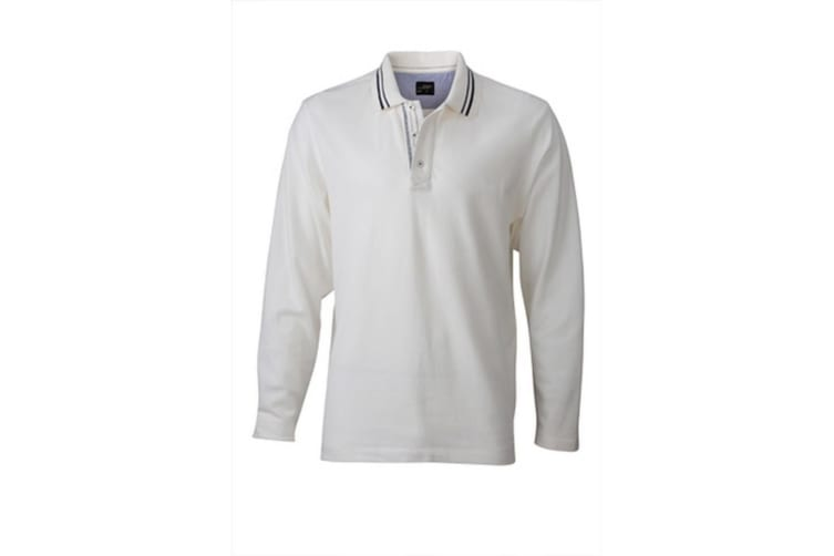 James and Nicholson Mens Long Sleeved Polo (Off White/Navy) (XXL)