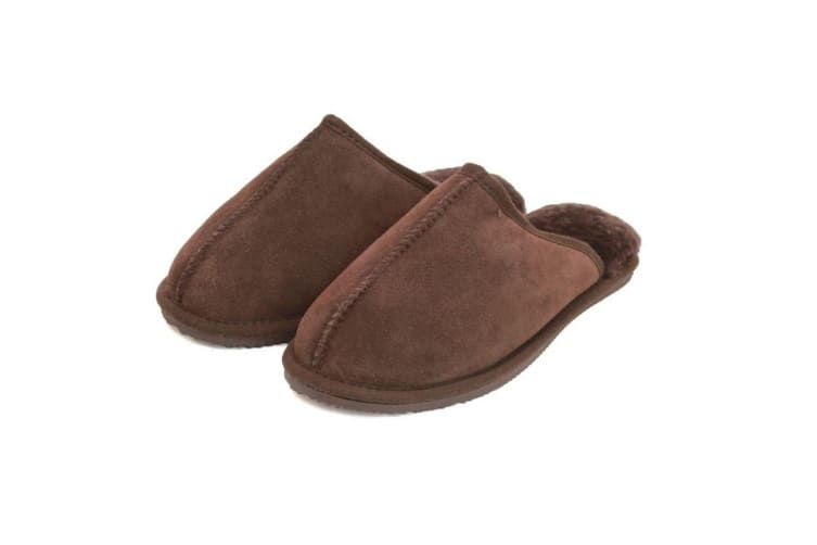 Eastern Counties Leather Unisex Sheepskin Lined Mule (Chocolate) (12 UK)