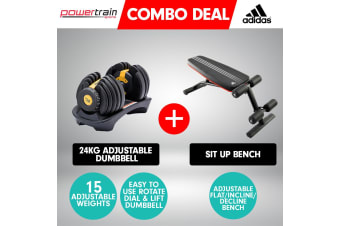Powertrain 24kg Gold  Adjustable Dumbbell w/ 10230 Adidas  Bench