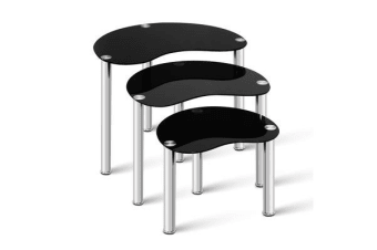 Artiss Set Of 3 Glass Coffee Tables (Black)
