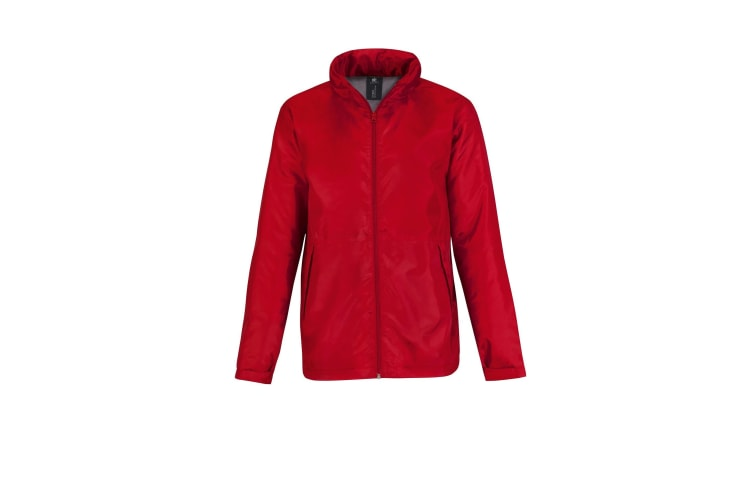 B&C Mens Multi Active Hooded Fleece Lined Jacket (Red/ Warm Grey) (2XL)