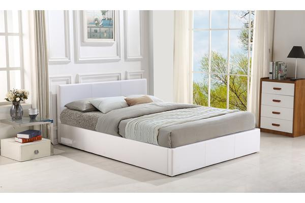 Gas Lift Storage Pu Leather Bed Frame King Size WHITE