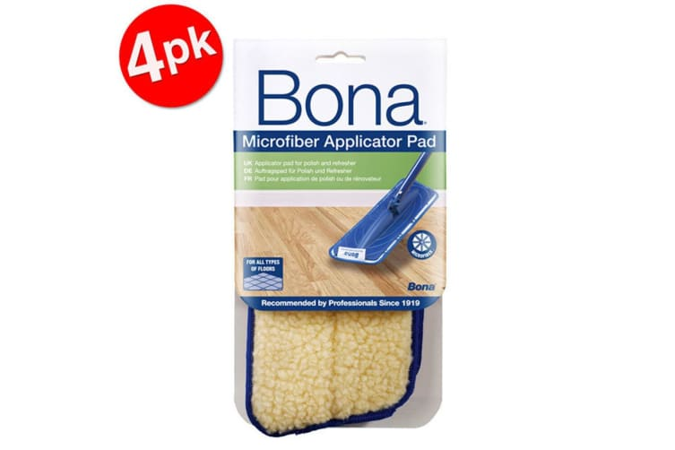 4PK Bona Microfibre Applicator Pad for Wood Refresher/Polish Floor Mop Cleaning
