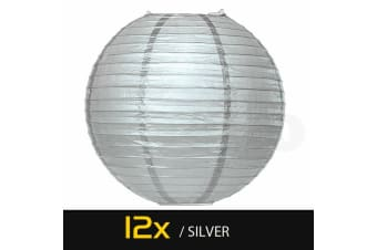 """12 Paper Lanterns for Wedding Party Festival Decoration - Mix and Match Colours  -  Silver10""""Warm White - 6000K"""