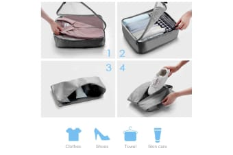 8 Pcs Travel Packing Cubes Set Luggage Storage Organiser Bags- Grey