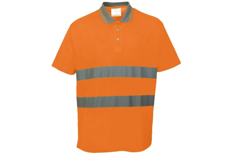 Portwest Cotton Comfort Reflective Safety Short Sleeve Polo Shirt (Orange) (S)
