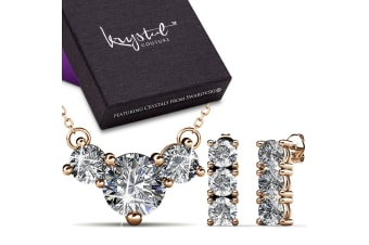 Brilliant Trilogy Necklace And Earrings Set w/Swarovski Crystals-Rose Gold/Clear