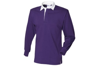 Front Row Long Sleeve Classic Rugby Polo Shirt (Deep Purple/White)