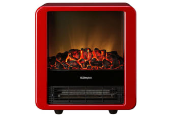 Dimplex Minicube Red Electric Heater Fireplace Heat/Flame Smoke Coal Wood Effect