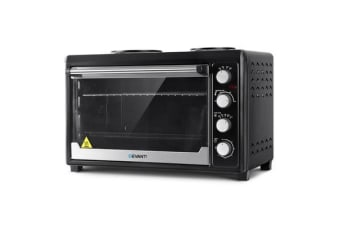 DEVANTi Electric Convection Oven Bake Benchtop Rotisserie Grill 60L Hotplate (Black)