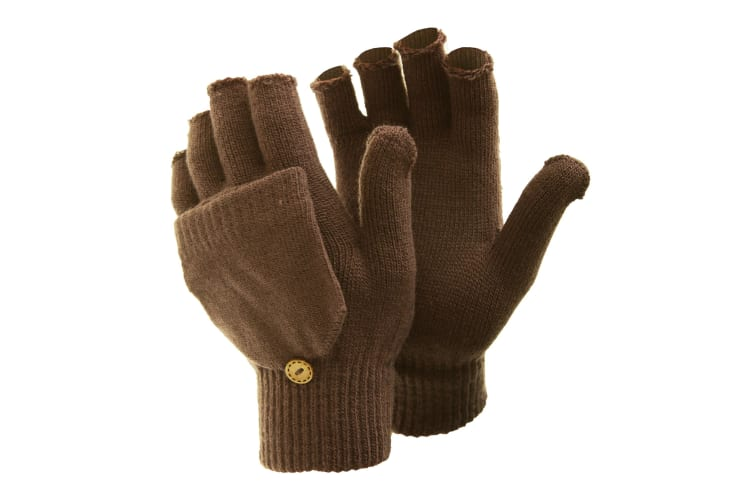 FLOSO Ladies/Womens Winter Capped Fingerless Magic Gloves (Brown) (One Size)