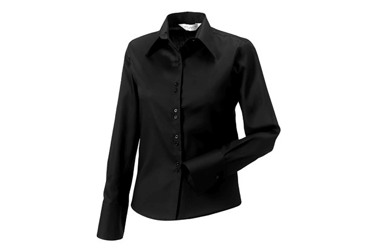 Russell Collection Ladies/Womens Long Sleeve Ultimate Non-Iron Shirt (Black) (2XL)
