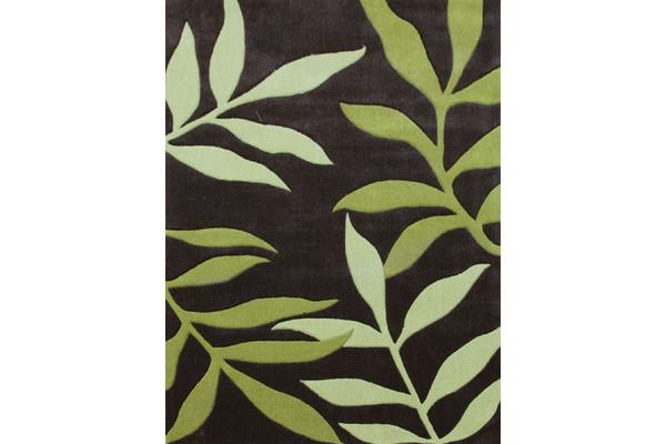 Stunning Leaf Design Rug Lime Charcoal 225x155cm