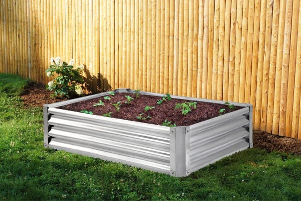 Galvanised Raised Garden Bed - Rectangle (120 x 90 x 41cm)