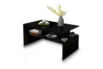 Modern Coffee Table Cabinet Storage Shelf High Gloss Wood Living Room Furniture - Black