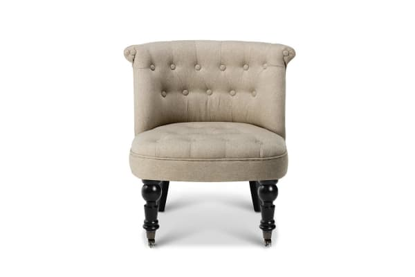 French Provincial Lorraine Accent Chair Linen Fabric (Taupe)