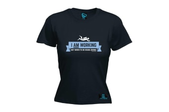 Open Water Scuba Diving Tee - I Am Working Out - (Small Black Womens T Shirt)
