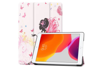For iPad 10.2 Colored Drawing Horizontal Flip Leather Case   Smart Flip Cover Elf Girl