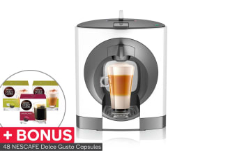 NESCAFE Dolce Gusto Oblo Capsule Coffee Machine with BONUS 48 Capsules - White (NCU200WHT)